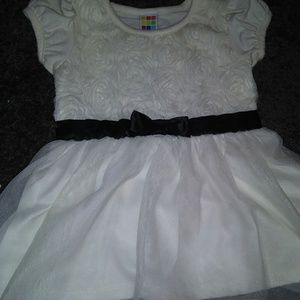 3T White Silky Lace Top with Black Accent Bow